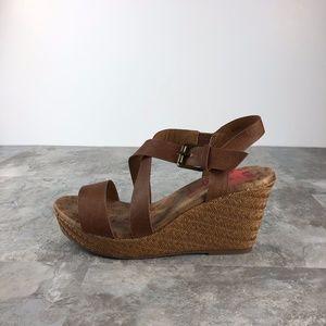 NIB JELLYPOP TAHOE Woven Cognac Wedge Sandals